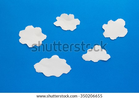 clouds paper craft artwork - stock photo