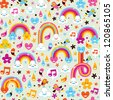 clouds rainbows rain drops hearts pattern - stock photo