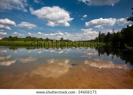 Clouds reflected in a river - stock photo