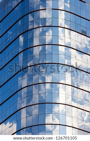 Clouds reflected in windows of modern office building, Sao Paulo, Brazil