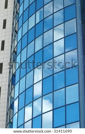 Clouds reflection in Office Building.