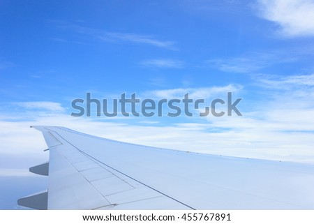 Clouds seen through the window of airplane. Airplane flies above the weather
