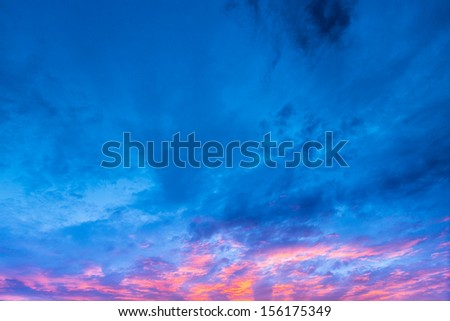 Clouds sky in the light of the sunset at blue hours - stock photo