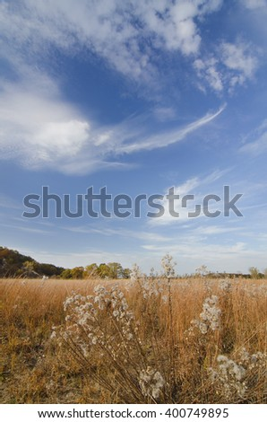 Clouds soar against a blue sky at the West Beach Unit of Indiana Dunes National Lakeshore in Porter County, Indiana - stock photo