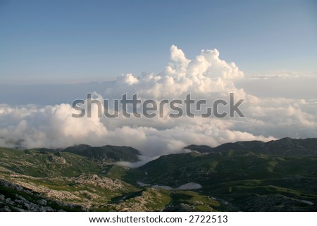 clouds under sea - stock photo