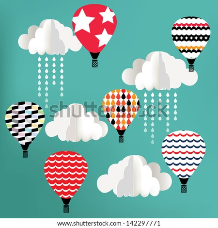 Clouds with hot air balloon on blue background
