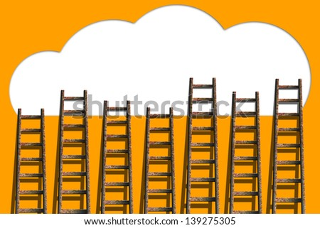 Clouds with ladders on orange wall  ,competition concept - stock photo
