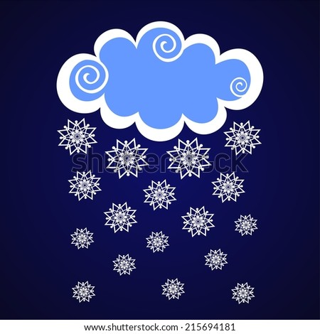 clouds with snow on blue dark background.  Illustration - stock photo