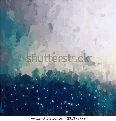 Clouds with stars. Abstract illustration. - stock photo