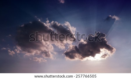clouds with sun ray  - stock photo
