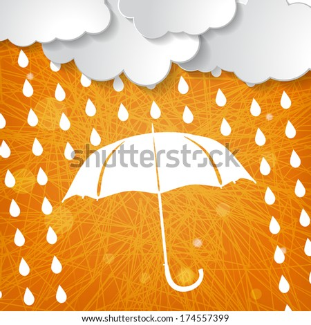 clouds with white umbrella and rain drops on orange triangular striped background