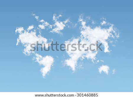 Clouds world  map  ,  background concept design - stock photo