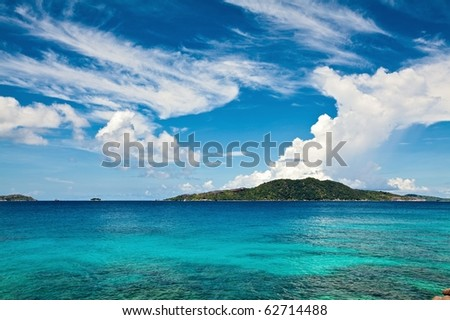 Cloudscape and seascape  view, Seychelles, LaDigue island - stock photo