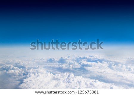 Cloudscape. Blue sky and white cloud. Sunny day. Cumulus cloud. - stock photo