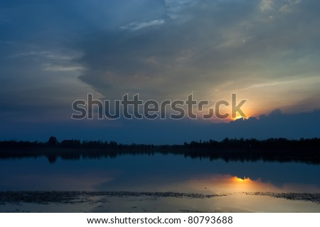 Cloudscape of sunset with blue sky and lake.