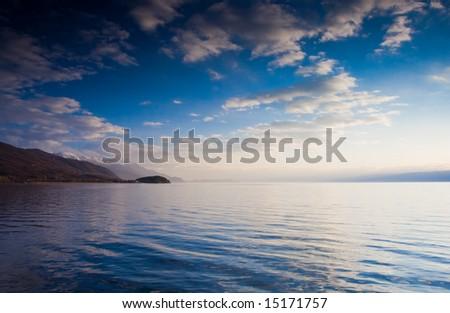 Cloudscape over lake Ohrid - stock photo