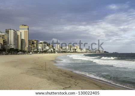 Cloudy afternoon on  Ipanema Beach  in Rio de Janeiro,Brazil - stock photo