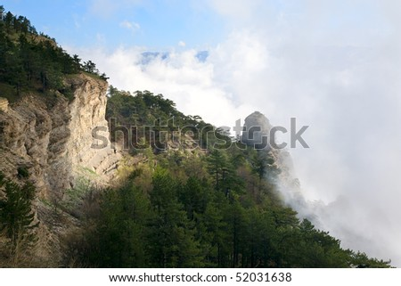 Cloudy Aj-Petri Mountain top view (Crimea, Ukraine) - stock photo