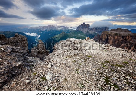 Cloudy and foggy sunrise at Dolomites mountains, Italy - stock photo
