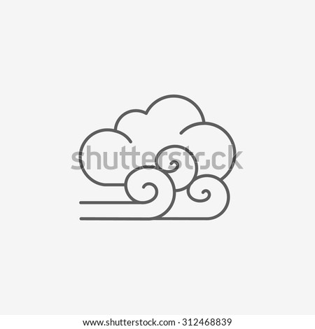 cloudy and the wind icon - stock photo