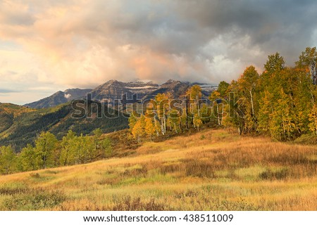 Cloudy autumn landscape in the Wasatch Mountains, Utah, USA. - stock photo