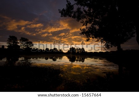 Cloudy Claremont Sunset - stock photo