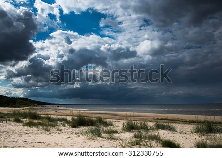 Cloudy day at gulf of Riga, Baltic sea. - stock photo