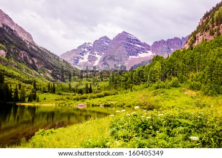 Cloudy Day at Maroon Bells - stock photo