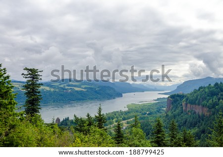 Cloudy day in the Columbia River Gorge in Oregon - stock photo