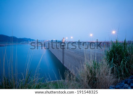 Cloudy day of Khundanprakarnchon dam, Thailand  - stock photo