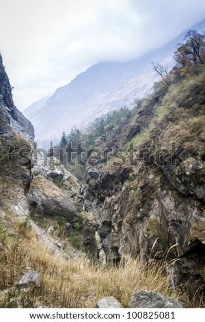 Cloudy day on beautiful himalaya landscape, Nepal - stock photo