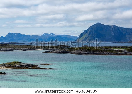 Cloudy day on the sea with mountains, Norway, Lofoten