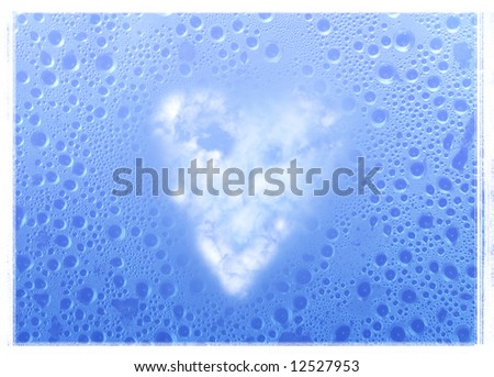 cloudy heart & water drops on the window glass