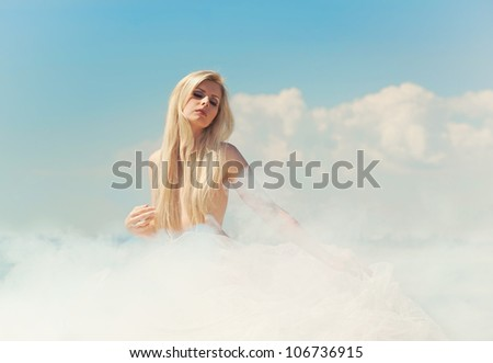 Cloudy lady in the sky - stock photo