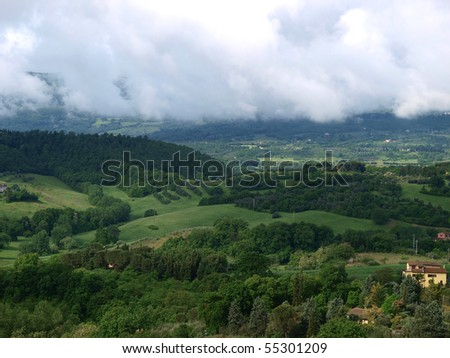 cloudy landscape of Tuscany