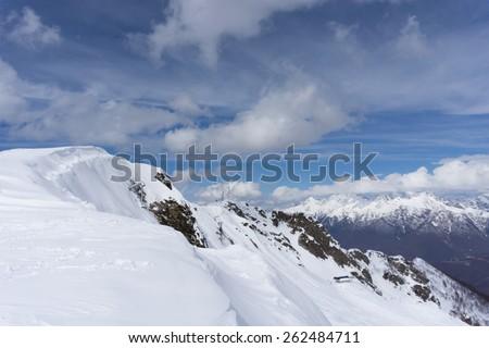 Cloudy mountain landscape of Krasnaya Polyana, Sochi, Russia - stock photo