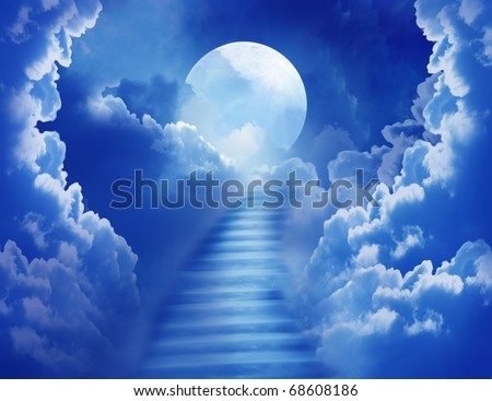 cloudy night sky with a stair towards the  moon - stock photo