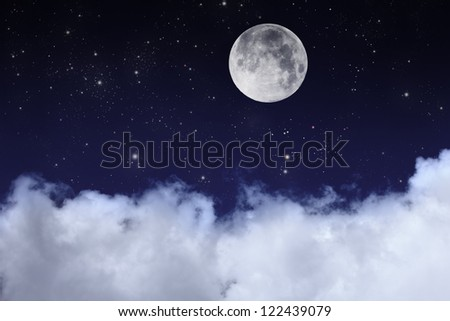 cloudy night sky with moon and star - stock photo