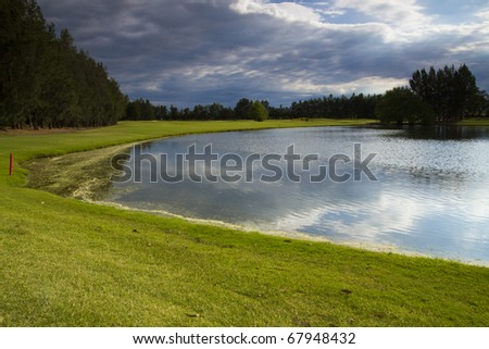 Cloudy on the Golf Course - stock photo