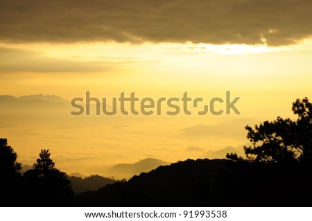 Cloudy over sunshine in  the mist forest national park, Thailand - stock photo