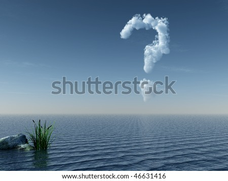 cloudy question mark at water landscape - 3d illustration - stock photo