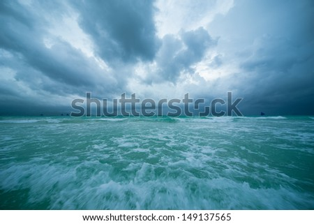 Cloudy sky and ocean - stock photo