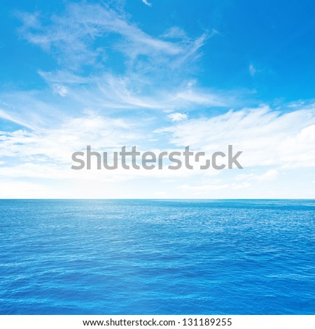 Cloudy sky and sea. Sea summer shot - stock photo