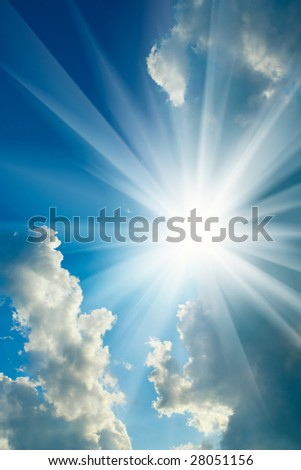 cloudy sky  and sun - stock photo