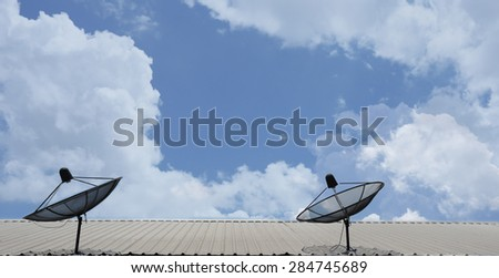 Cloudy sky background and the antenna.