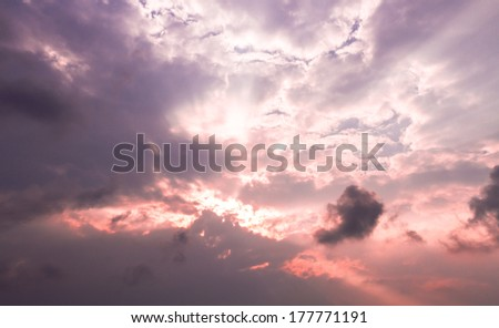Cloudy sky before sunset - stock photo