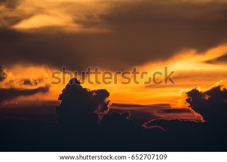 Cloudy sky in sunset