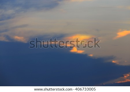 Cloudy sky in sunset light