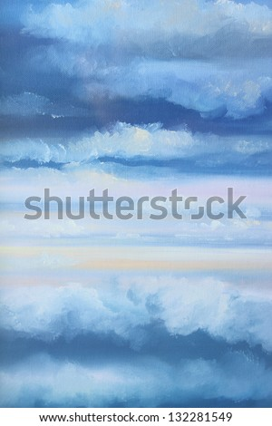 cloudy sky : oil color painting - stock photo