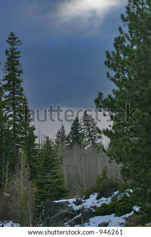 Cloudy Sky over Snowy Ground - stock photo